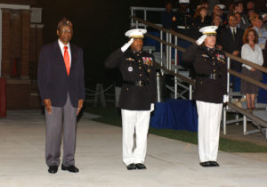 Gunnery Sgt. Henry L. Baul, was the guest of honor at the Marine Barracks Washington Evening Parade, May 16. Lt. Gen. Ronald Coleman, deputy commandant of Man power and Reserve Affairs and the evening's hosting offiicial, salutes durning the pass-in-review with Col. W. Blake Crowe, Barracks commanding officer. In 1942, Baul was the ninth African American to join the Marine Corps, enlisting out of the Washington Navy Yard..